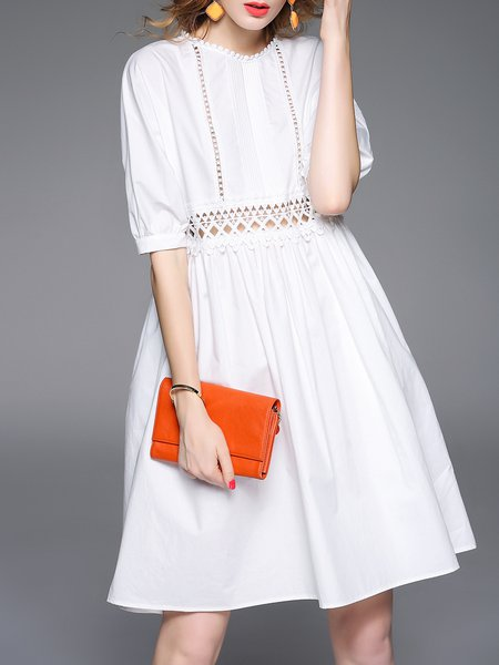 White Plain Statement Pierced Midi Dress