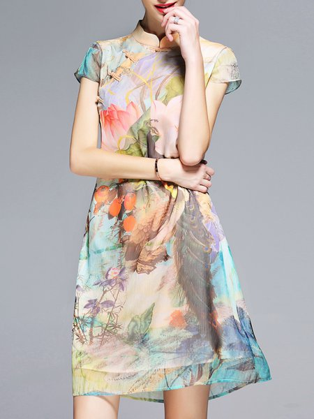 Multicolor Printed A-line Short Sleeve Polyester Vintage Mini Dress