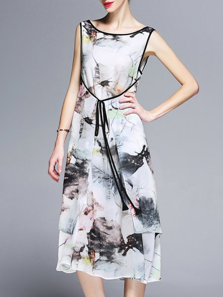 Sleeveless Vintage Printed Midi Dress