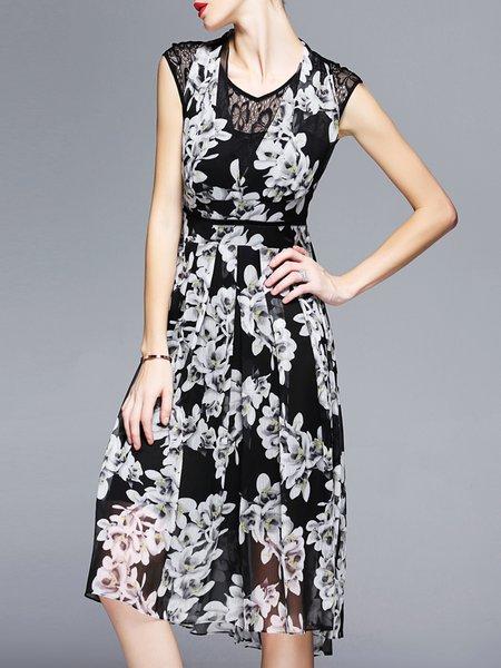 Black A-line Floral Sleeveless Lace Paneled Chiffon Midi Dress