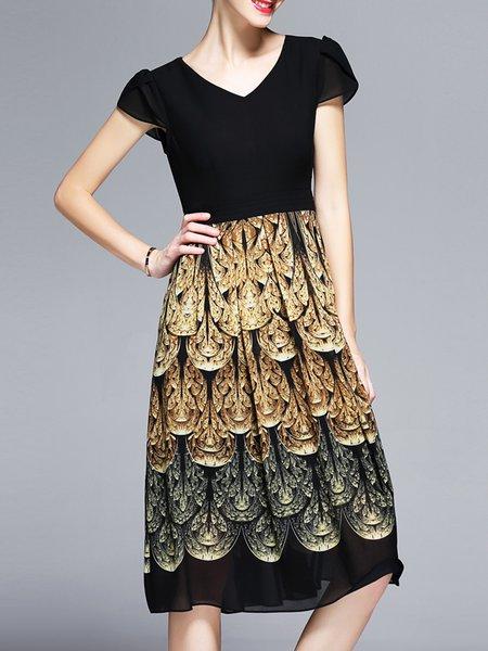 Black Shorts Sleeve V Neck A-line Midi Dress