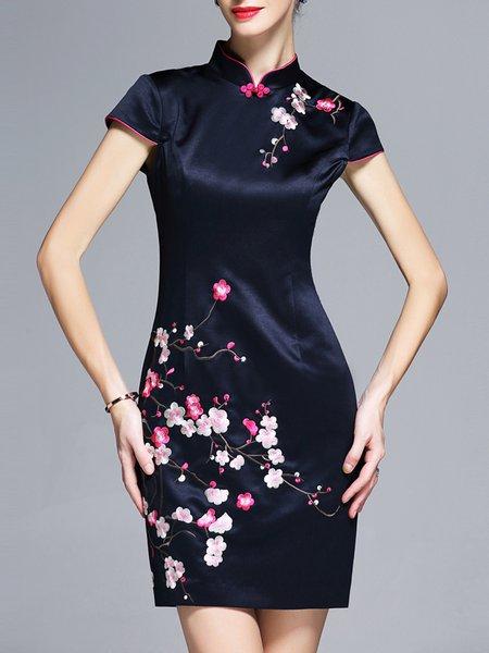Dark Blue Sheath Short Sleeve Stand Collar Embroidered Mini Dress