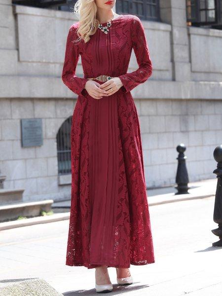 Burgundy Elegant Cotton Pierced Maxi Dress