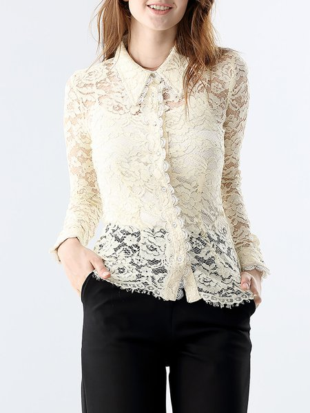 Beige Long Sleeve Shirt Collar Sheath Floral Guipure Lace Blouse