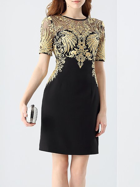 Black Sheath Short Sleeve Tribal Embroidery Mini Dress