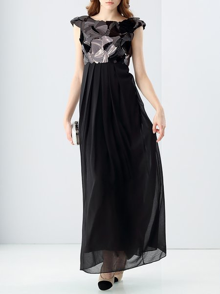 Black Plain Statement Swing Gathered Maxi Dress
