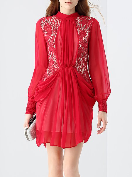 Red Stand Collar Long Sleeve Sheath Silk Paneled Lace Mini Dress