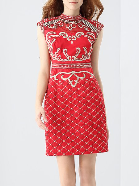 Red Tribal Embroidered Vintage Stand Collar Sheath Mini Dress