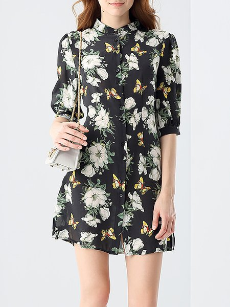Black Stand Collar Floral Print Butterfly Pattern Silk H-line Half Sleeve Mini Dress