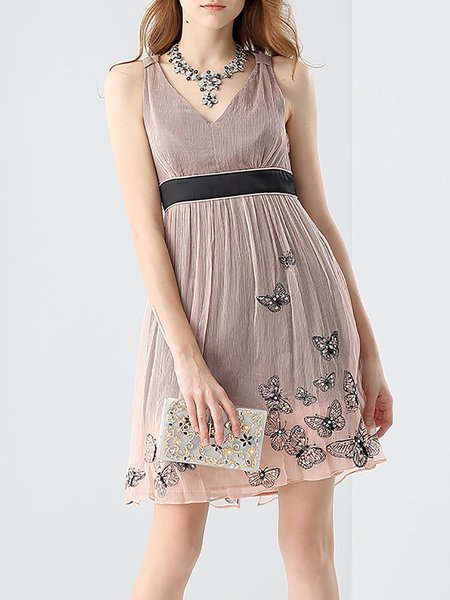 Nude A-line V Neck Butterfly Appliqued Sleeveless Mini Dress
