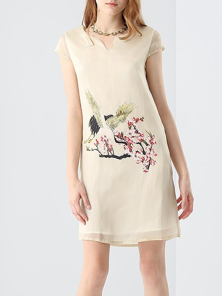Beige V-neck Printed Silk Short Sleeve Mini Dress