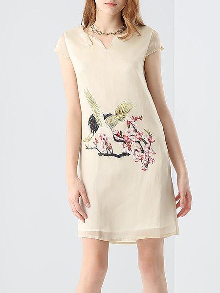 Beige V-neck Printed Silk Short Sleeve Mini Dress
