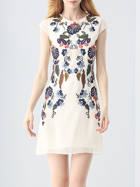 Beige Sheath Crew Neck Floral-embroidered Mini Dress