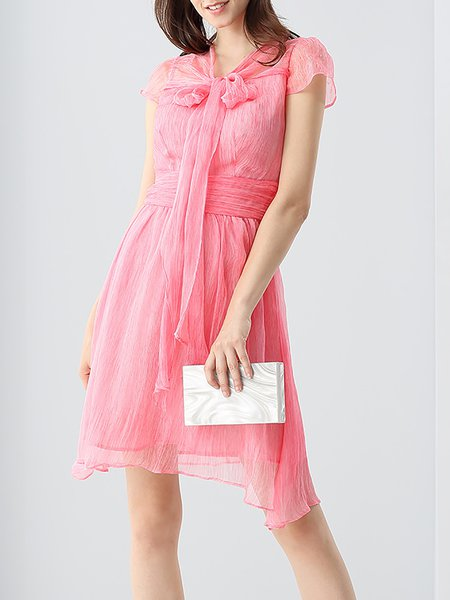 Pink A-line Silk-blend Ruched Midi Dress