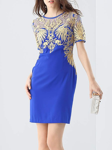 Blue Short Sleeve Crew Neck Embroidered Mini Dress