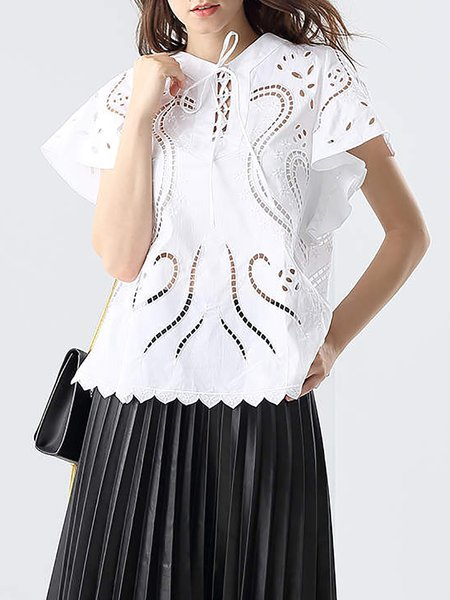 White Pierced V Neck Cotton Short Sleeved Top