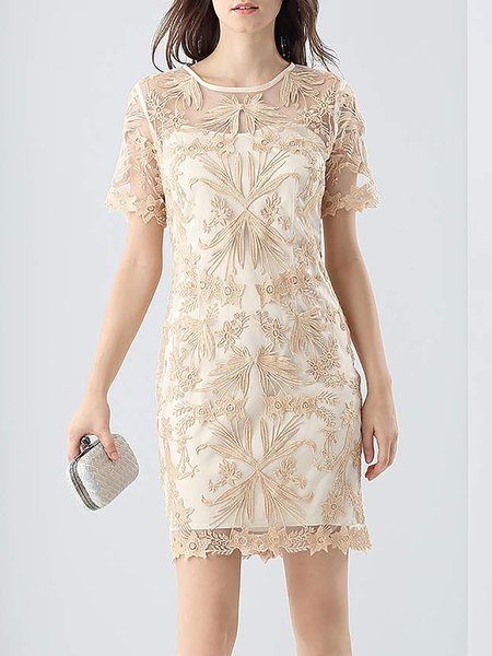 Apricot Crew Neck Applique Short Sleeve Sheath Mini Dress