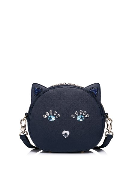 Navy Blue Cat Shaped Zipper Sweet Beaded PU Crossbody Bag