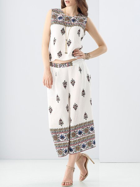 White Tribal Resort Printed Two Pieces Jumpsuit