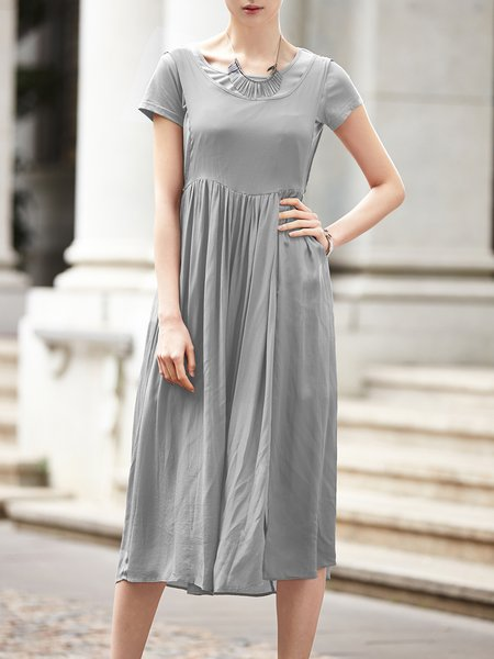 Rayon Casual Two Piece Short Sleeve Slit Midi Dress