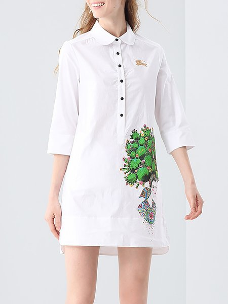 White 3/4 Sleeve Cotton Shirt Collar Mini Dress