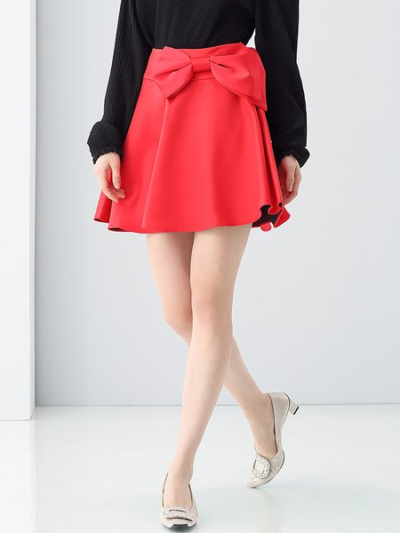 Red Plain Bow Casual Skater Mini Skirt