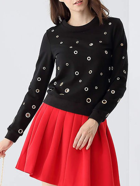 Black Crew Neck H-line Casual Pierced Long Sleeved Top