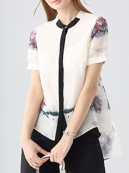 White Statement Linen High Low Graphic Blouse