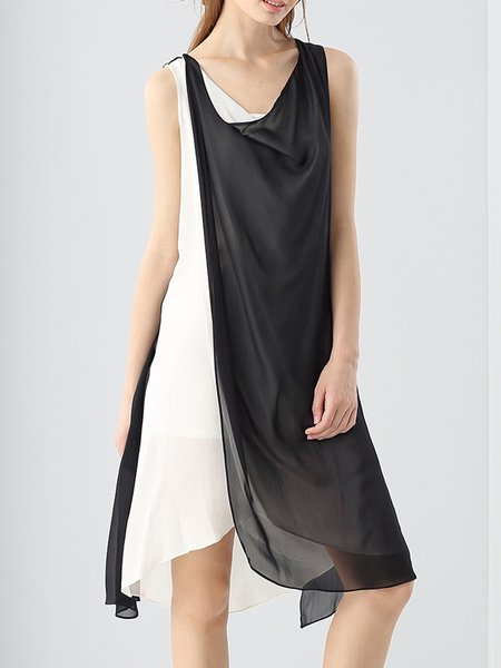 Silk Asymmetrical Sleeveless Paneled Midi Dress with Tube Top