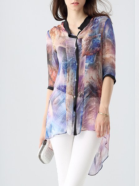 Pink Printed Abstract Casual Linen Tunic