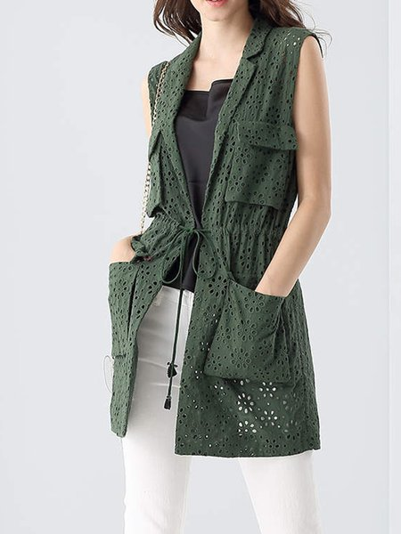 Green Pierced Cotton Casual Lapel Vests