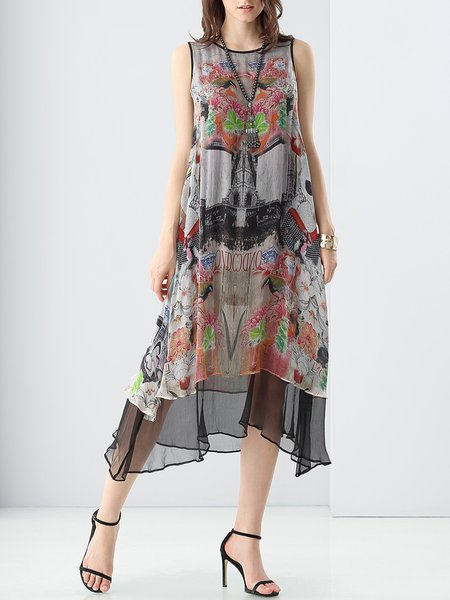 Multicolor Crew Neck Silk Sleeveless Graphic Midi Dress With Cami