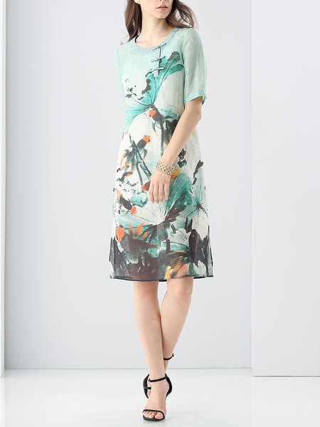 Light Green Graphic Crew Neck Printed Vintage Midi Dress