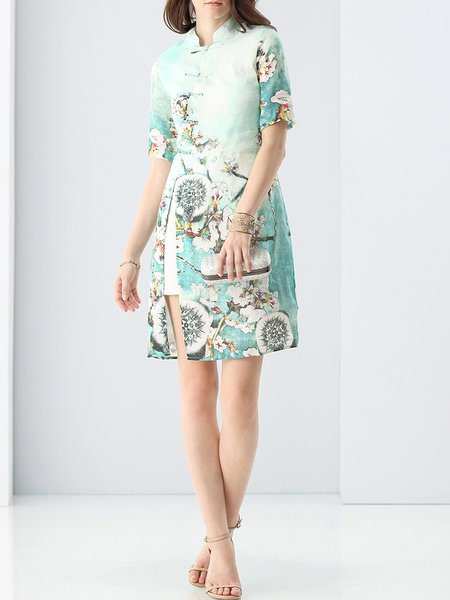Light Green Stand Collar Vintage Mini Dress