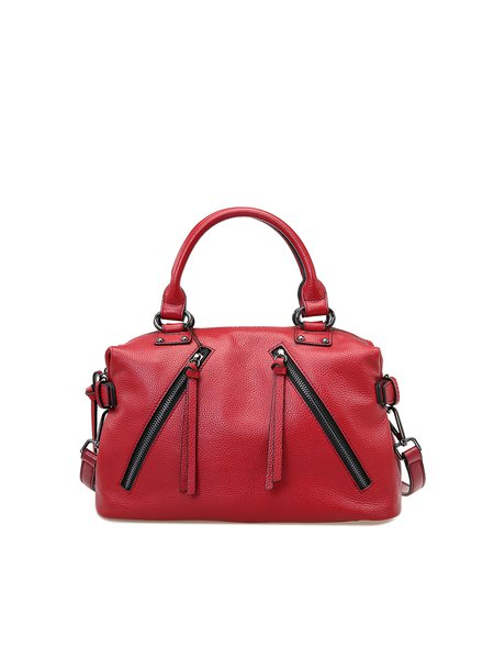 Red Casual Zipper Cowhide Leather Satchel