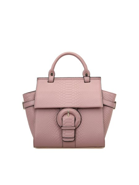 Pink Casual Cowhide Leather Medium Satchel