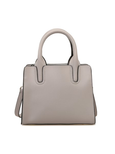 Light Gray Solid Cowhide Leather Zipper Simple Top Handle