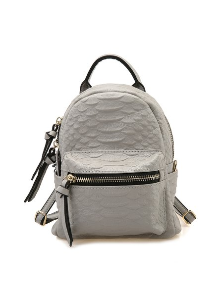 Light Gray Cowhide Leather Small Backpack