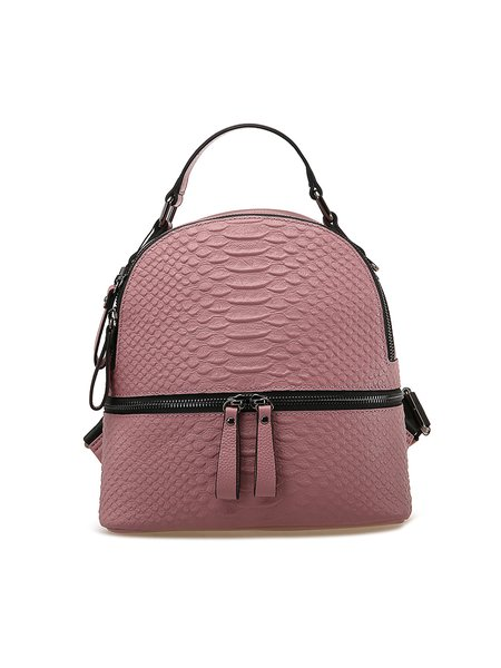 Pink Casual Zipper Cowhide Leather Backpack