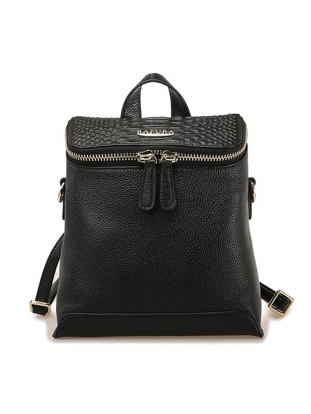 Cowhide Leather Casual Zipper Small Backpack
