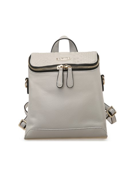 Light Gray Small Cowhide Leather Backpack