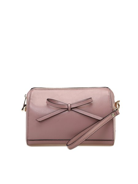 Pink Small Cowhide Leather Bow Clutch
