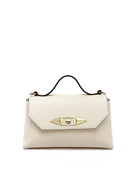 Beige Solid Cowhide Leather Casual Twist Lock Crossbody Bag