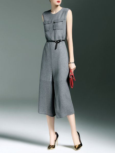 Gray Sleeveless Plain Crew Neck Jumpsuit with Belt