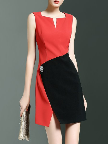 Red Color-block Square Neck Sheath Simple Mini Dress