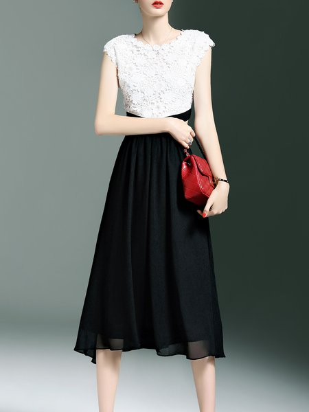 Black Lace Paneled Crew Neck Elegant Midi Dress