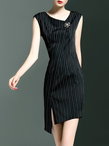 Black Printed Stripes Elegant V Neck Mini Dress