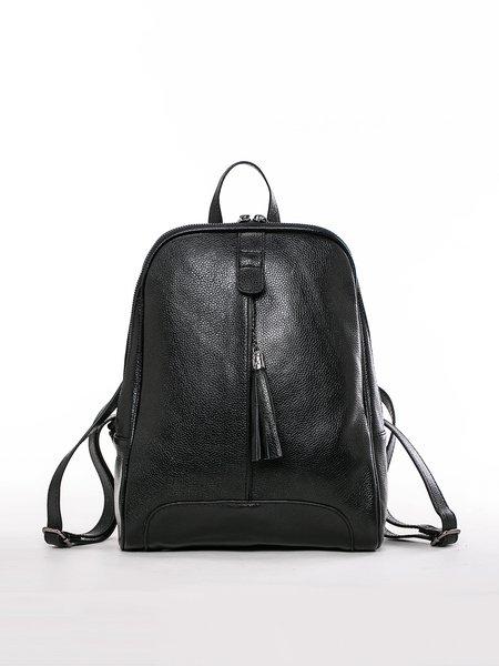 Black Casual Zipper Cowhide Leather Backpack