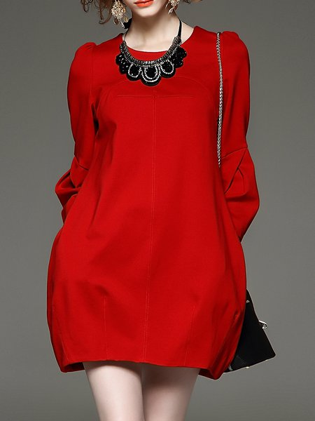 Red Pockets Shift Casual Mini Dress