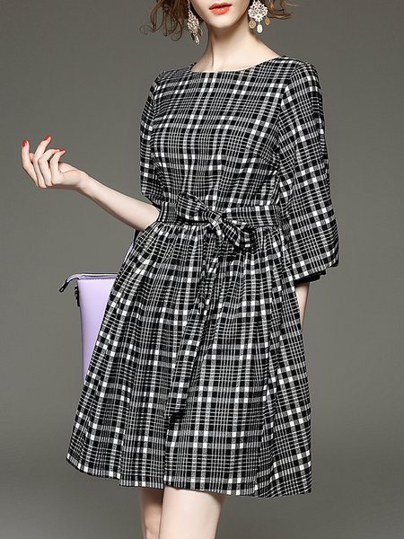 Gray A-line Balloon Sleeve Mini Dress